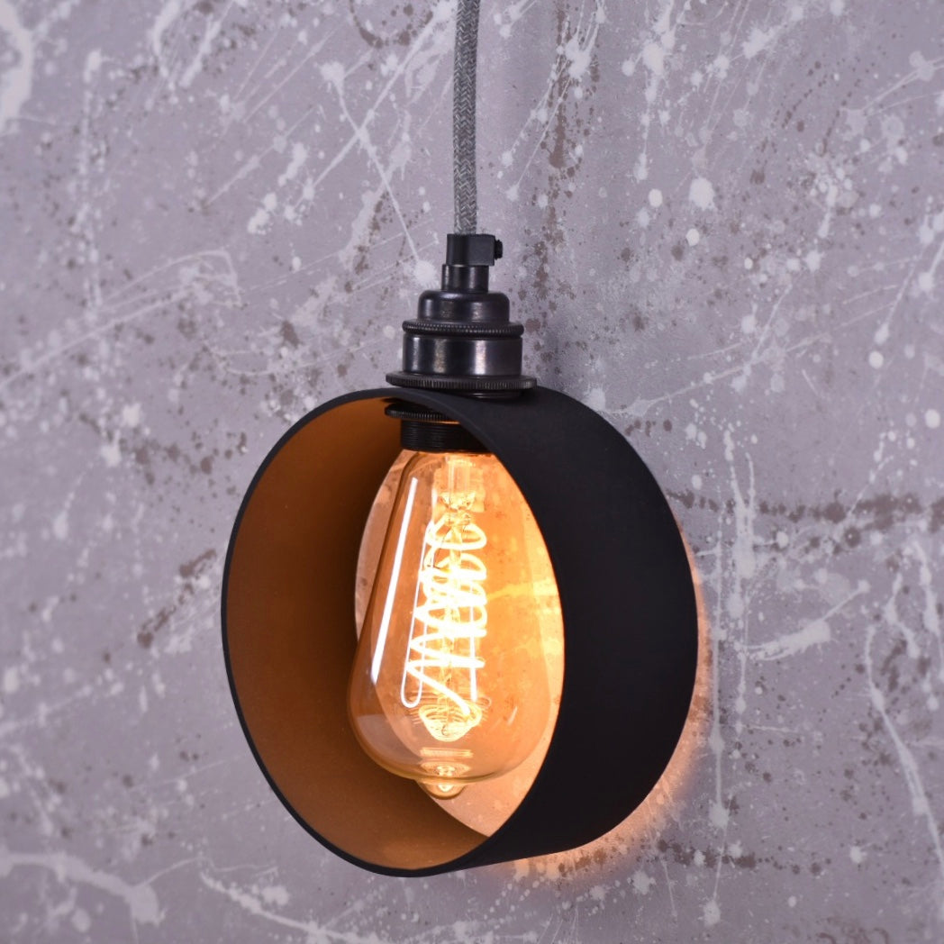 Hoop Lamp - black hoop with linen grey flex