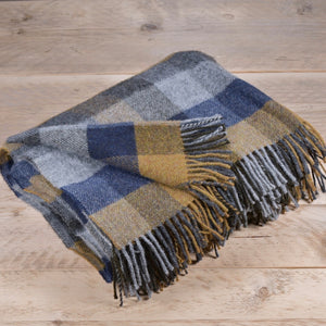 Mustard and navy block wool throw