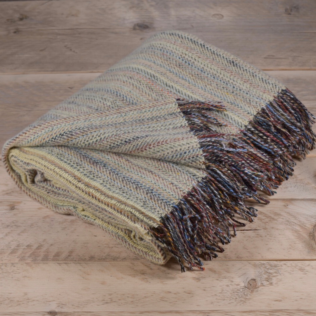 Heritage tweed wool throw - Lichen