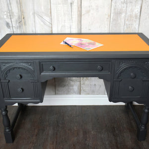 Graphite oak desk with orange leather inlay