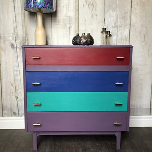 Rodmell, Florence, Napoleonic Blue and Burgundy Lebus chest fo drawers