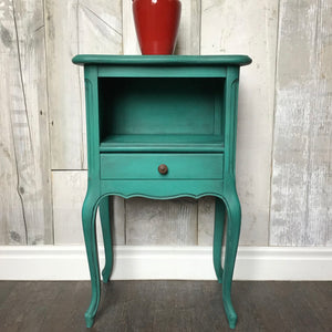 French bedside cabinet painted in Florence and finished with black wax