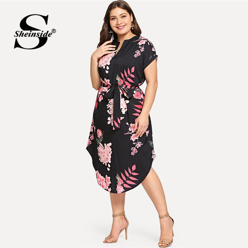 5d5279d1818d4 Sheinside Plus Size Elegant Floral Print Straight Belted Dress Women 2019  Summer Black Casual Roll Up Sleeve Midi Dresses