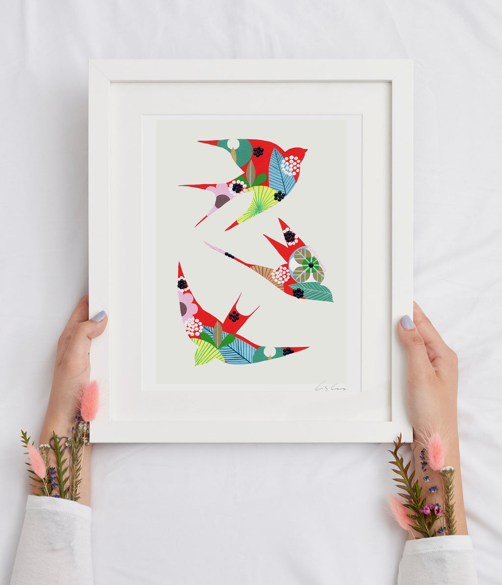 Swallows (red #2) print