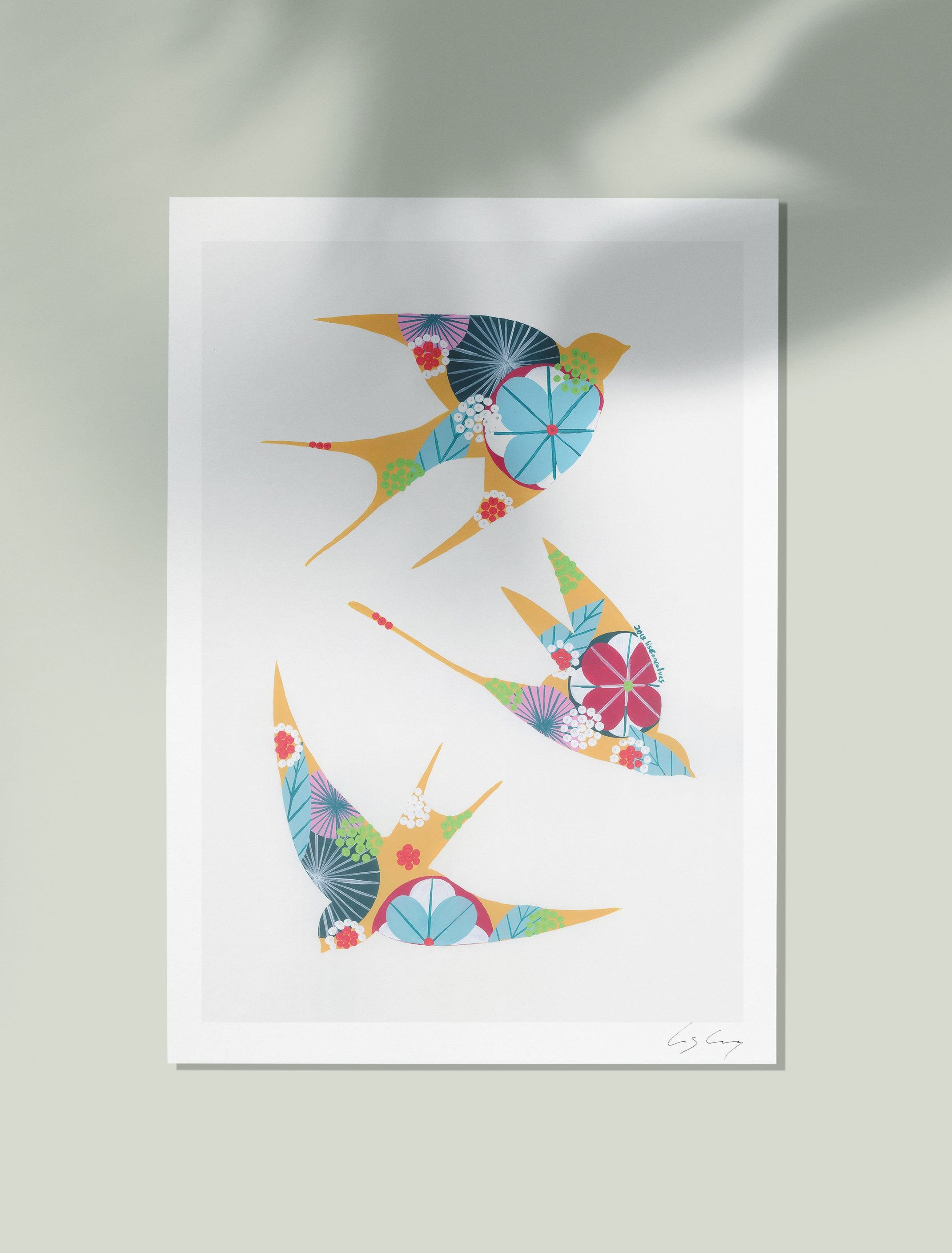 Swallows giclée print in ochre yellow