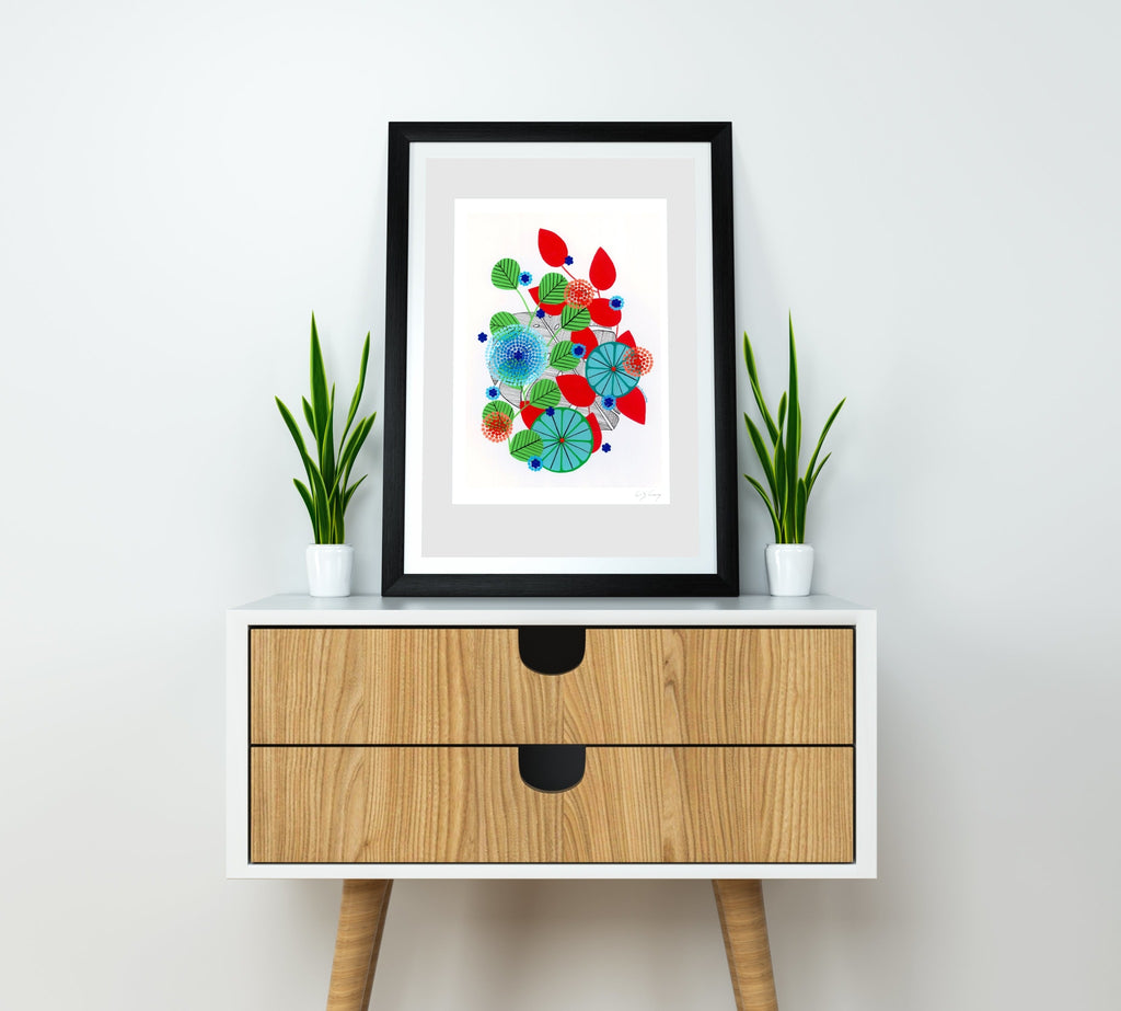 Monstera print (red)