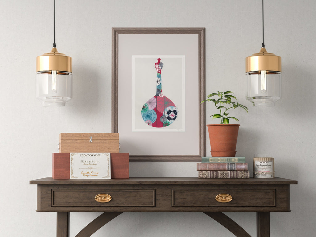 Portuguese guitar fine art print in crimson