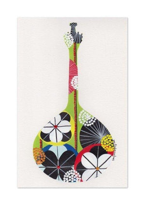 Portuguese Guitar art print in green by Lis goncalves