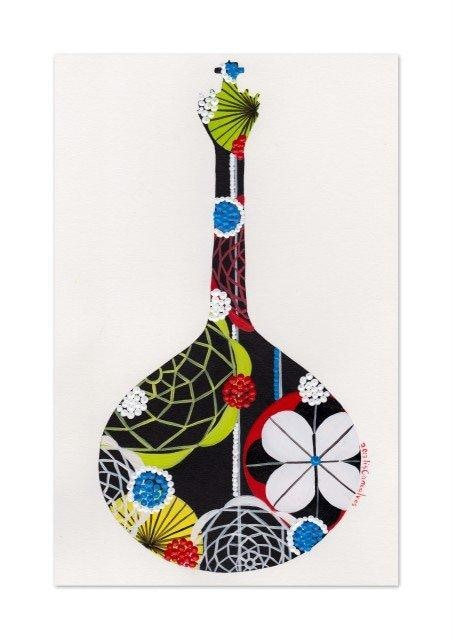 Portuguese guitar giclée print in black