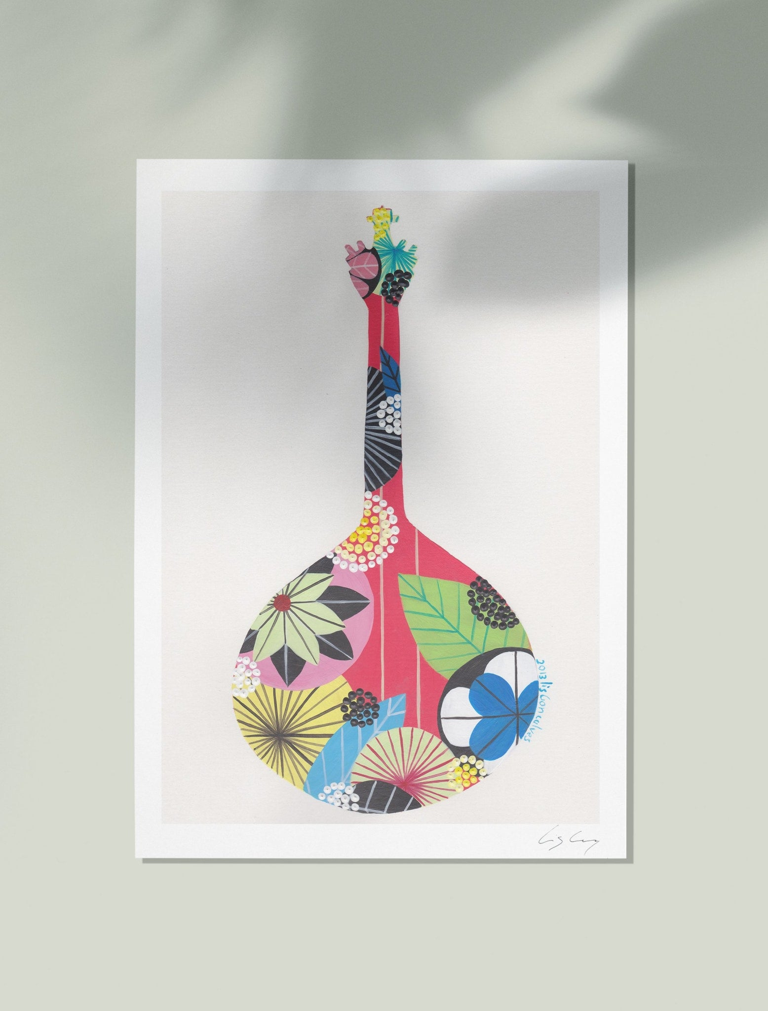 Portuguese Guitar art print in pink by Lis Goncalves
