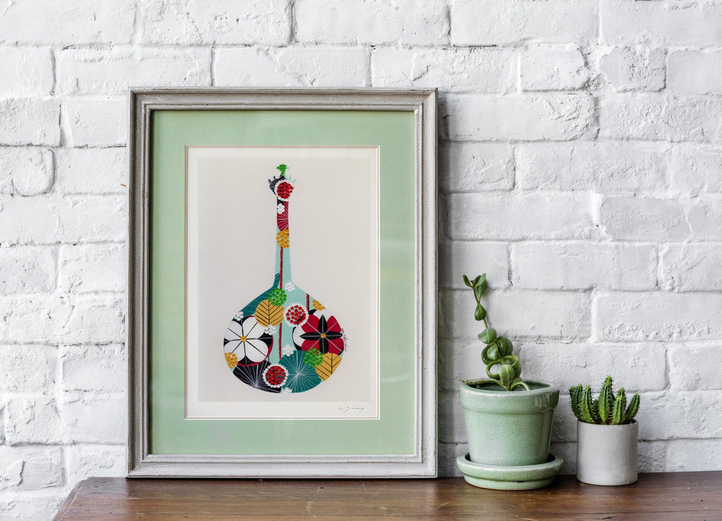 Portuguese guitar giclée print in water green