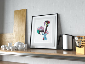 Portuguese Rooster (black) print