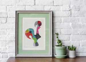Portuguese Rooster (blue) print
