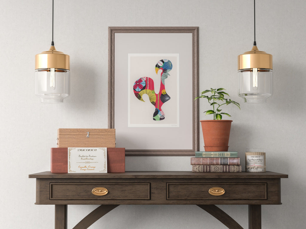 Portuguese Rooster (orange) print