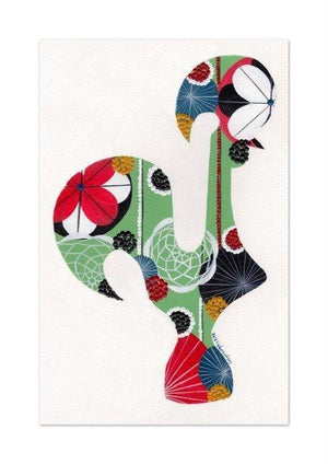 Portuguese Rooster print (green)