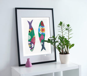 Sardines art print in green by Lis Goncalves