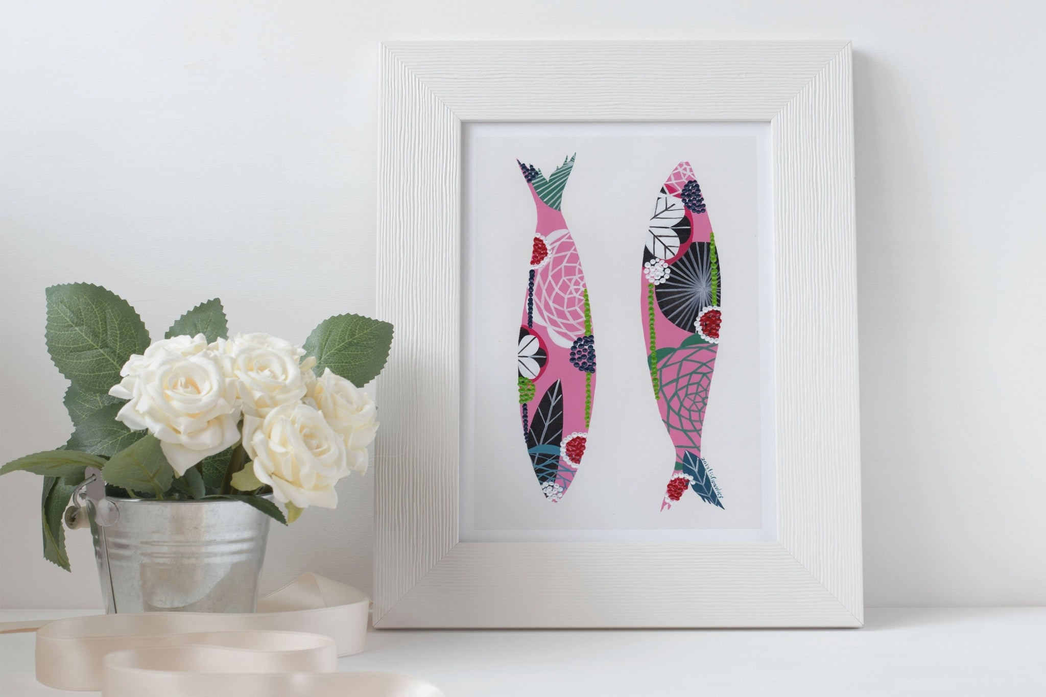 Sardines art print in pink by Lis Goncalves