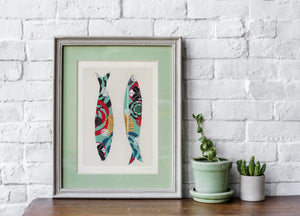 Sardines giclée print in water blue