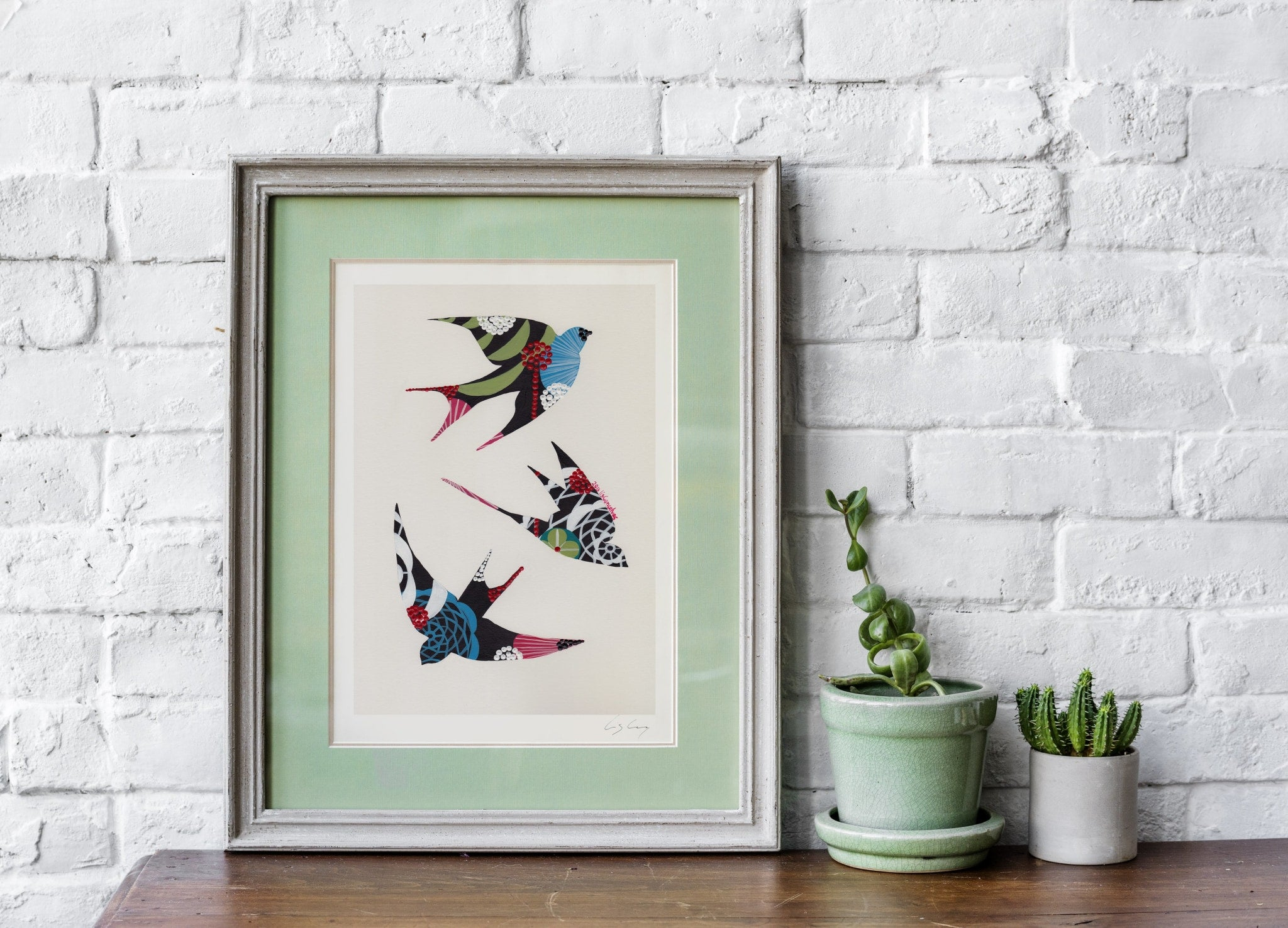 Swallows (black) print