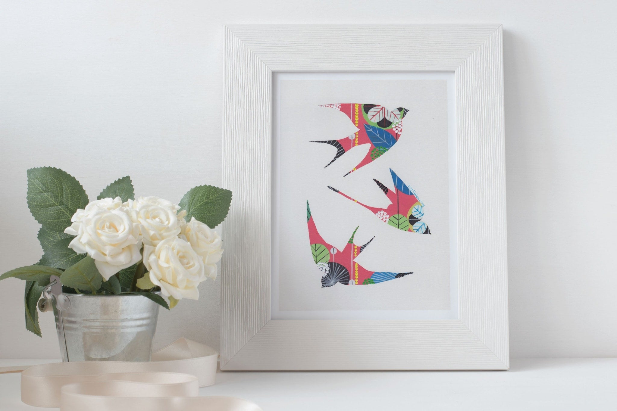 Swallows fine art print in coral