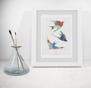 Swallows fine art print in green