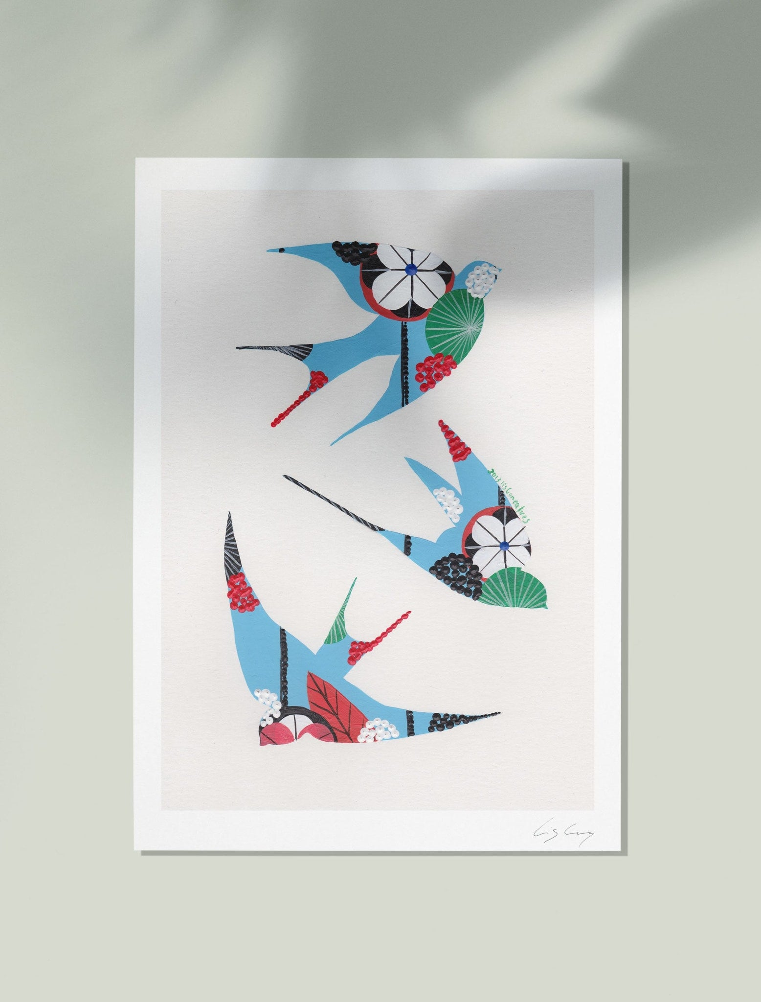Swallows (light blue) print