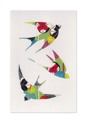Swallows art print in green by Lis Goncalves