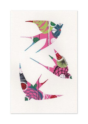 Swallows art print in pink by Lis Goncalves