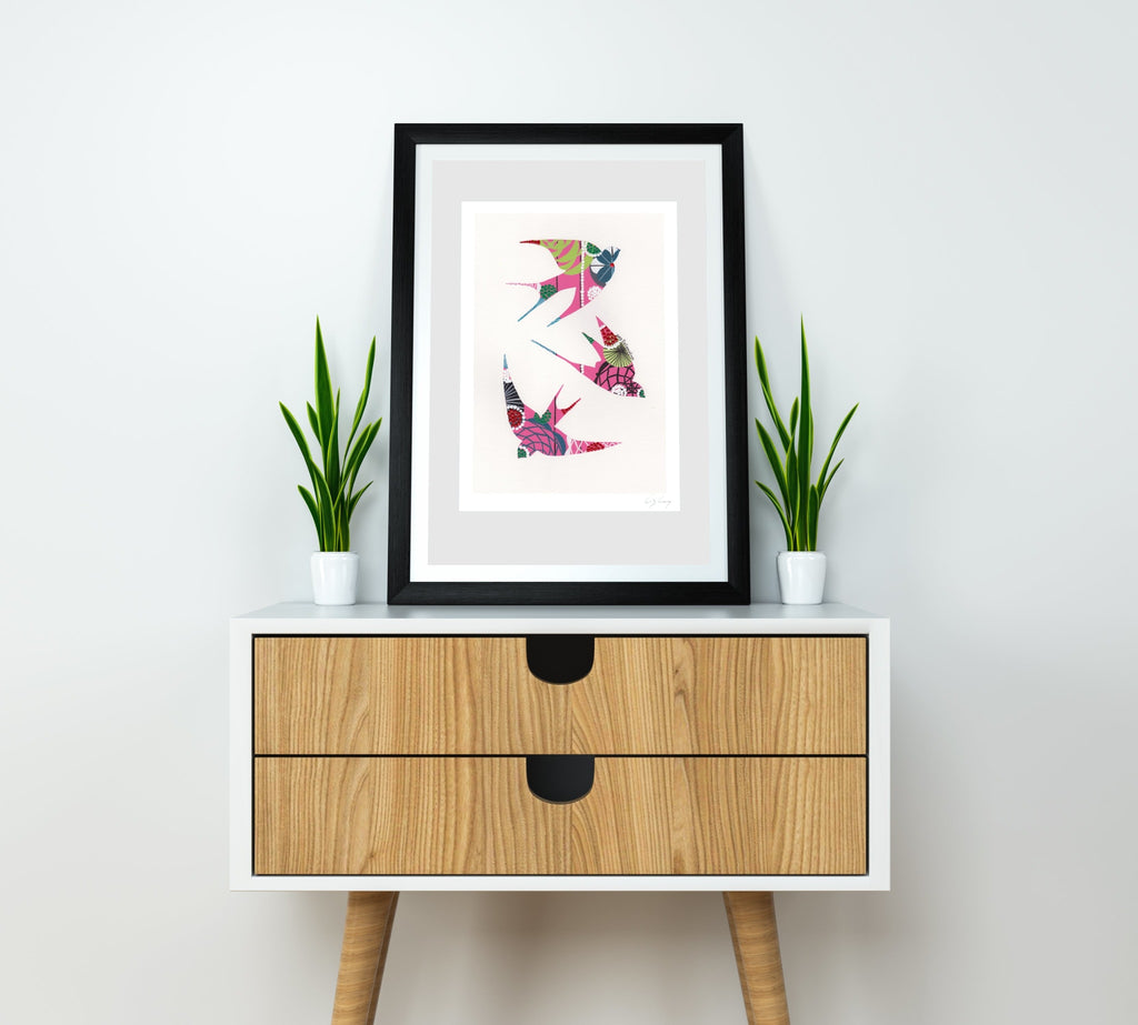 Swallows (pink #2) print