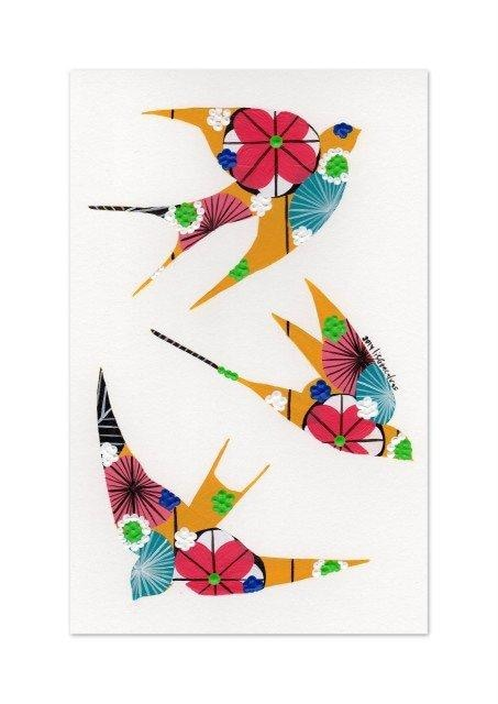 Swallows fine art print in ochre yellow