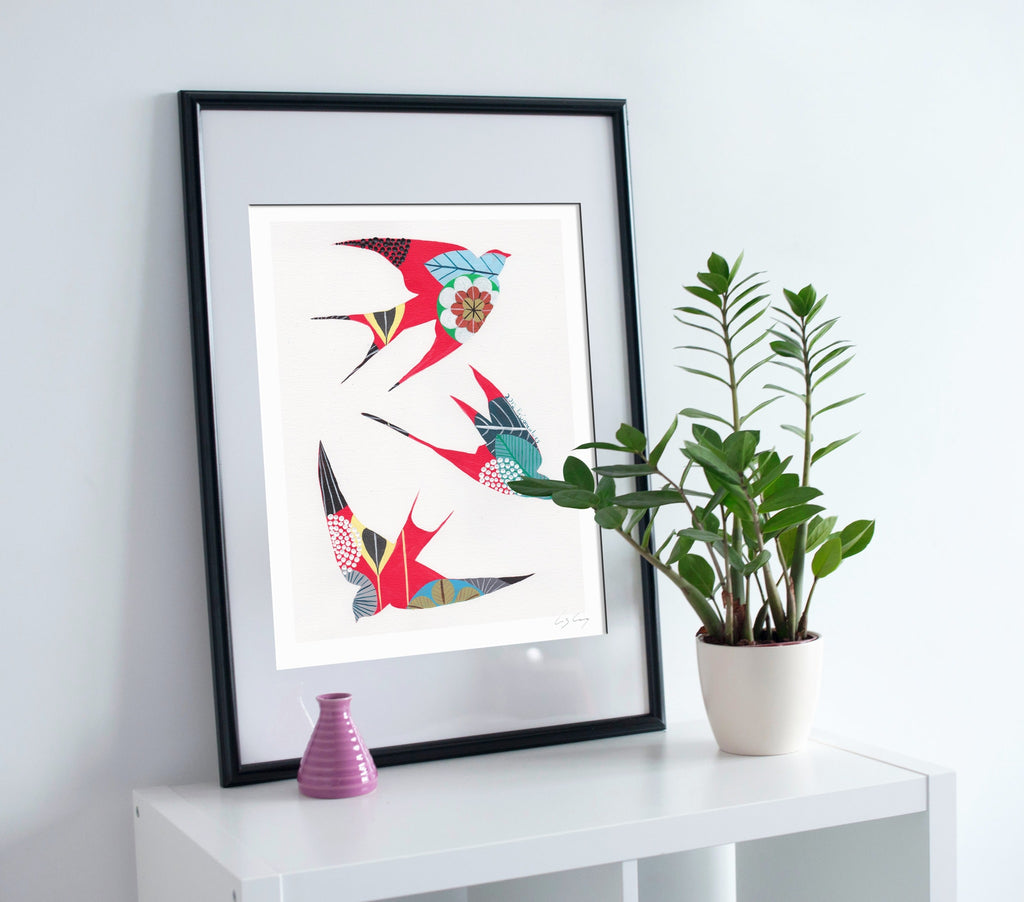 Swallows giclée print in red