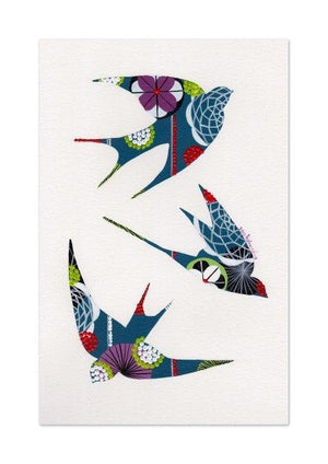 Swallows giclée print in teal