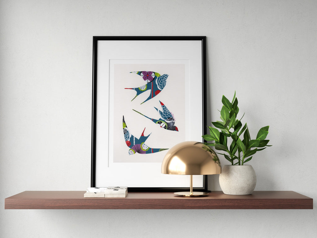Swallows (teal) print