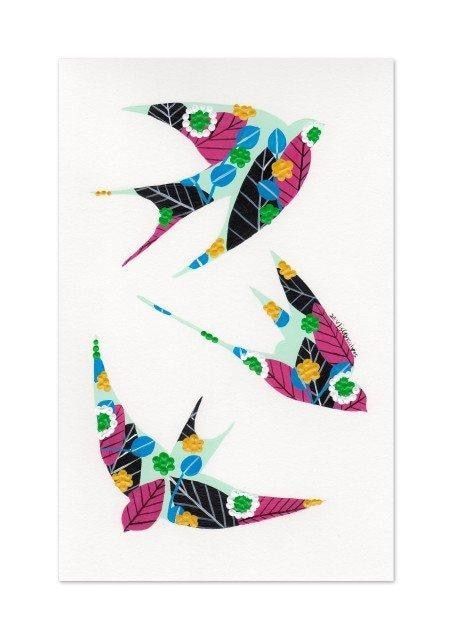 Swallows giclée print in water blue