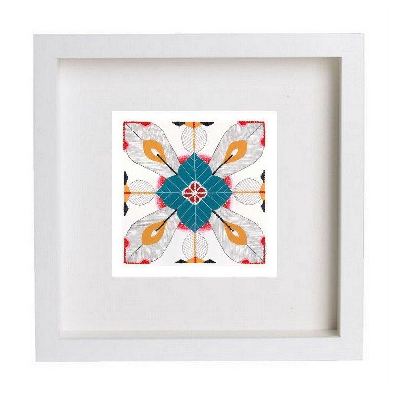 Tile giclée print - mixed media (teal)