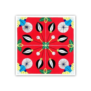 Portuguese tile art print - red