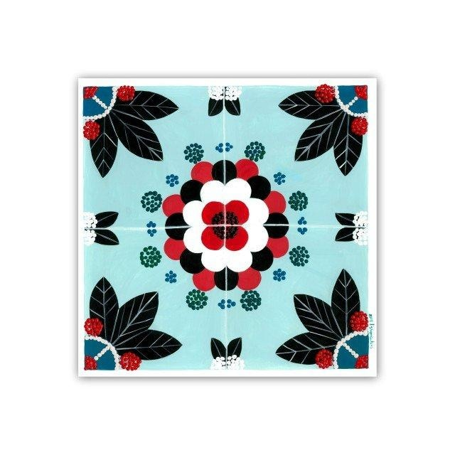 Portuguese tile art print - light blue