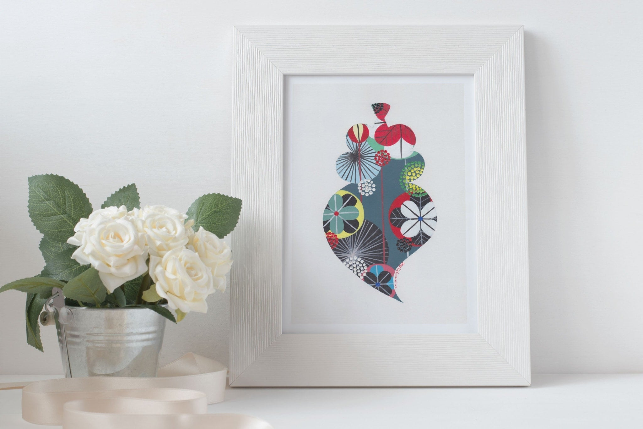 Viana Heart fine art print in teal