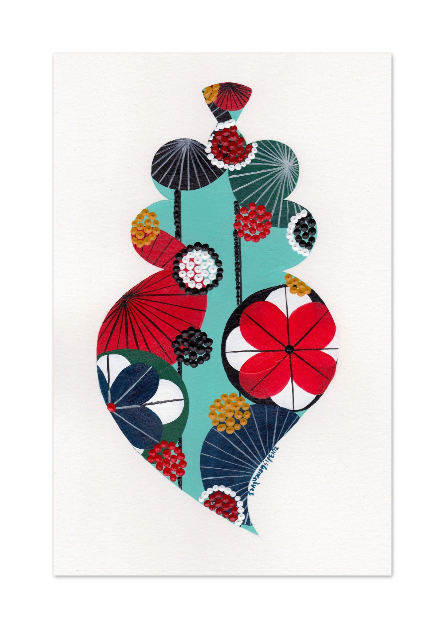 Portuguese heart art print in turquoise by Lis Goncalves