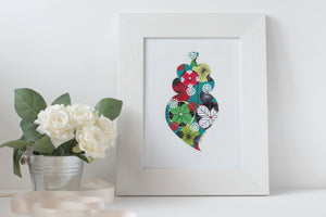 Viana heart art print in turquoise by Lis Goncalves