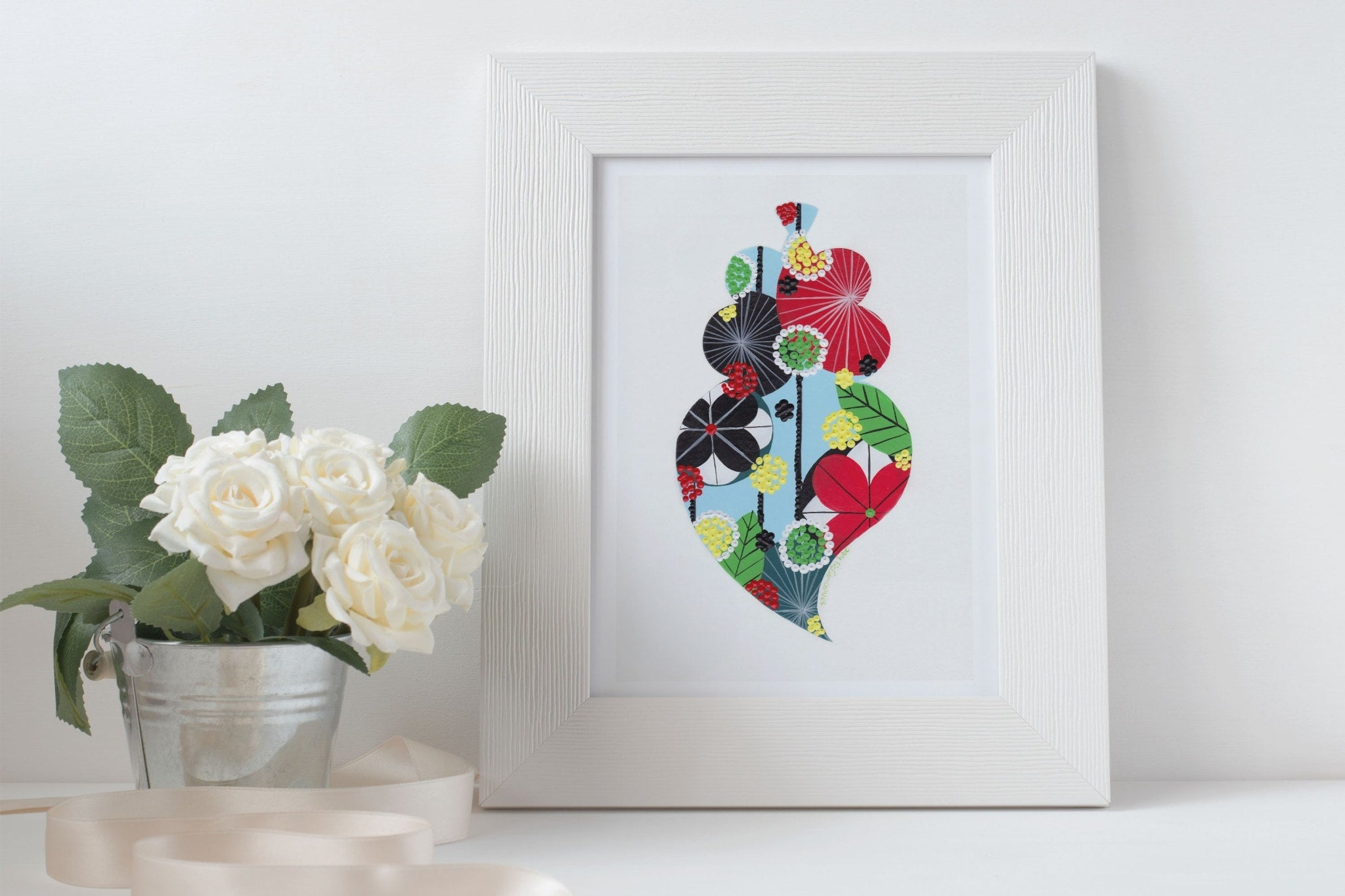 Portuguese heart giclée print in water blue