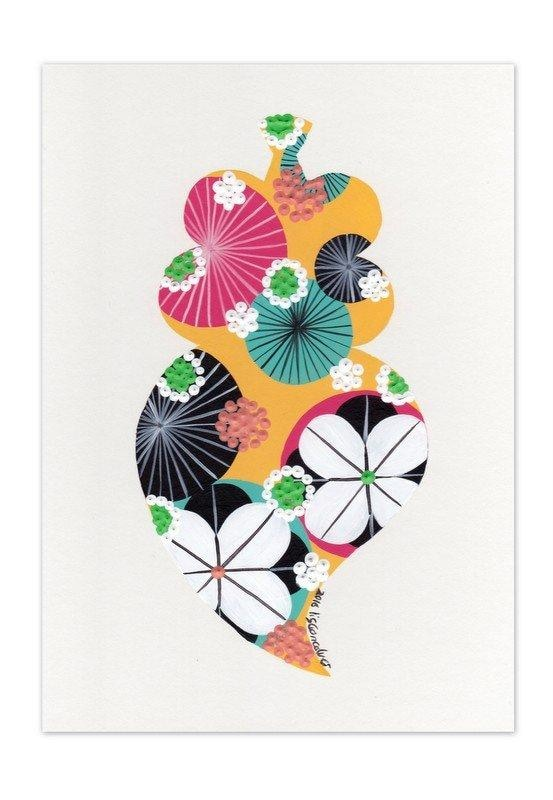 Portuguese heart giclée print in yellow