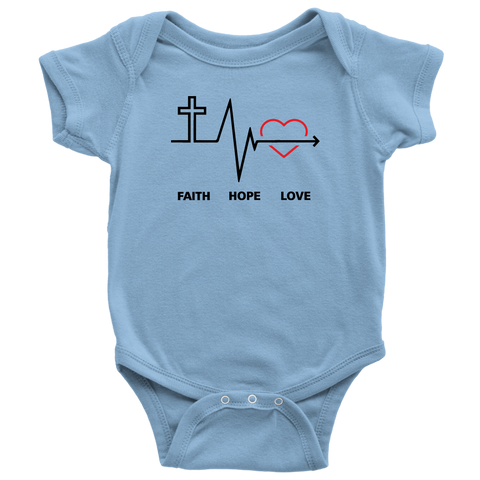 Faith, Hope,  and Love Baby Bodysuit