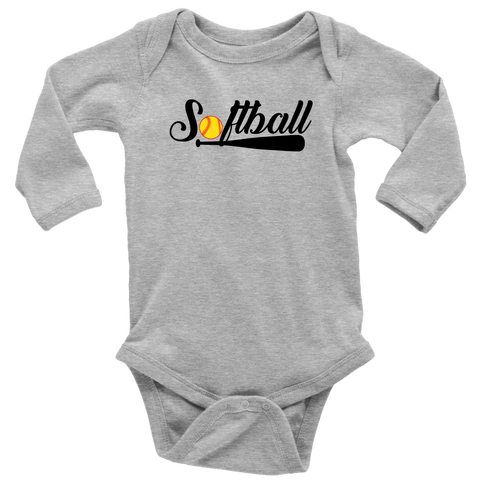 """Softball"" (Long Sleeve Baby Bodysuit)"