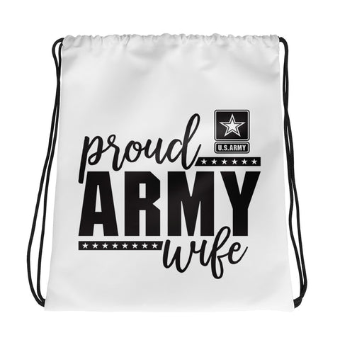 Proud Army Wife Drawstring bag