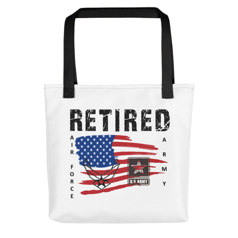 """RETIRED ARMY-AIR FORCE""  Tote bag"