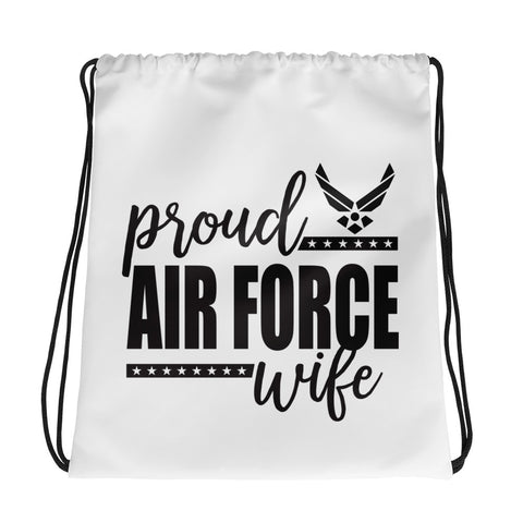 Proud Air Force Wife Drawstring bag