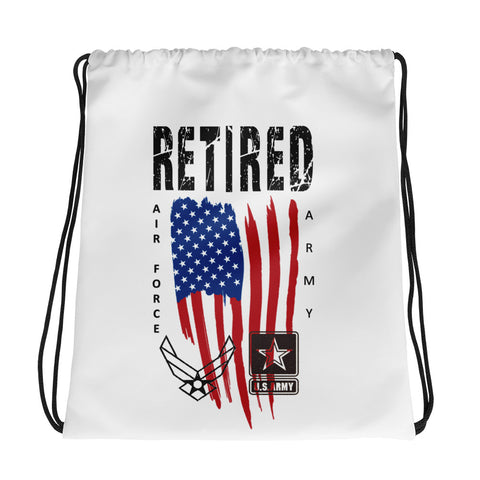 """RETIRED ARMY-AIR FORCE"" Drawstring bag"