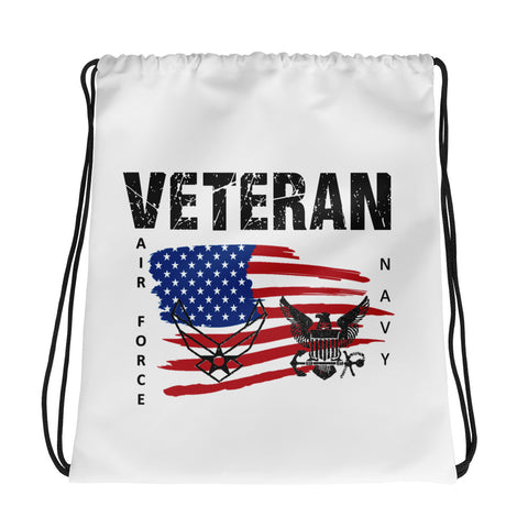 """VETERAN NAVY-AIR FORCE"" Drawstring bag"