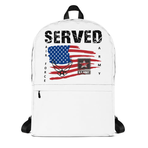 """SERVED ARMY-AIR FORCE""  Backpack"